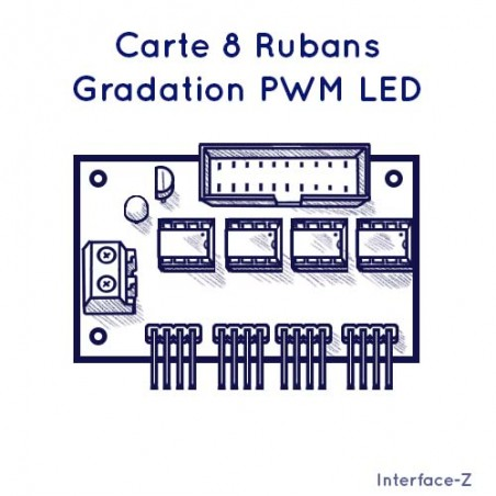 Carte 8 Rubans - Gradation PWM LED