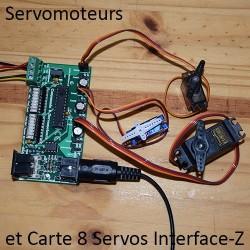Servomoteurs sur carte 8 Servos Midi Interface-Z, avec mini-servos
